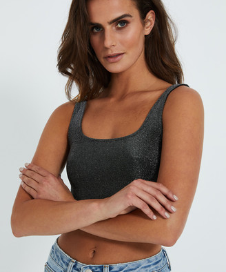 Neon Hart Penny Square Neck Lurex Tank Top Silver