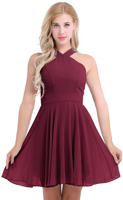 Freebily Womens Chiffon Halter Neck Sleeveless Evening Party Prom Gown Bridesmaid Short Dress Burgundy 16