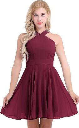 inlzdz Women Girls Sleeveless Halter Neck Chiffon Bridesmaid Dress Evening Prom Party Cocktail Dress Burgundy 16