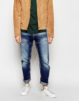 Jack & Jones Washed Jeans With Panels In Anti Fit - Blue