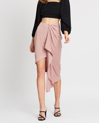 Missguided Satin Drape Midi Skirt