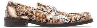 Martine Rose Python-effect Leather Penny Loafers - Mens - Grey Multi