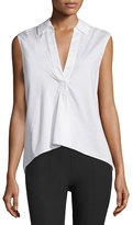Alexander Wang Sleeveless Poplin Pullover Top, White