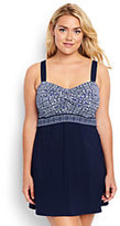Classic Women's Plus Size Underwire Sweetheart Dresskini Swimsuit Top-Deep Sea Mixed Medallion