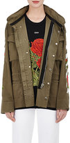 Off-White Off White Women's Stripes-And-Roses Embroidered Twill Field Jacket-DARK GREEN