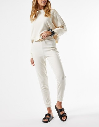 Miss Selfridge ribbed joggers co-ord in cream