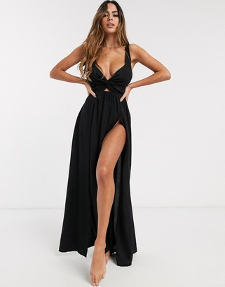 ASOS DESIGN fuller bust tie back beach maxi dress with twist front in black