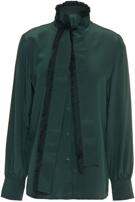 Tory Burch Fringe-trimmed Tie-neck Silk Crepe De Chine Blouse