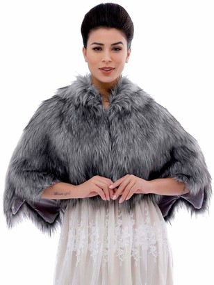 Apricity Bride Wedding Faux Fur Cape Bridal Fur Stole Wraps and Shawls Winter Capelet for Women and Girls (Grey)