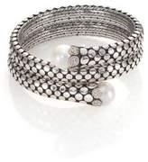 John Hardy Dot 11MM White Pearl, Diamond & Sterling Silver Double Coil Bracelet