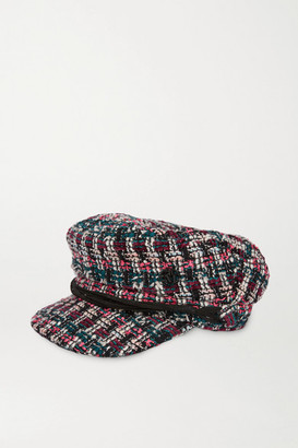 Maison Michel New Abby Leather-trimmed Metallic Boucle-tweed Cap - Pink