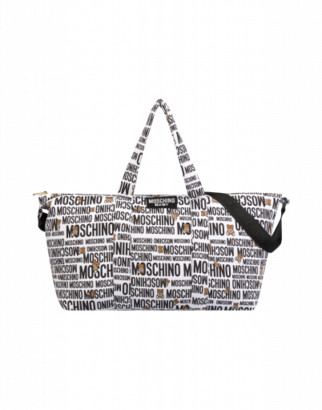 Moschino Teddy Logo All Over Mommy Bag Unisex White Size Single Size