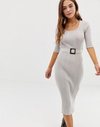 Asos Design DESIGN square neck midi dress with self belt-Stone