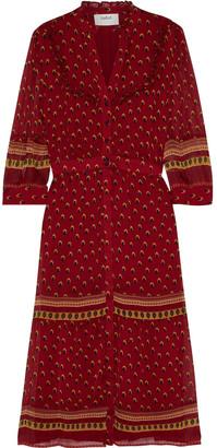 BA&SH Barie Ruffle-trimmed Printed Georgette Midi Dress