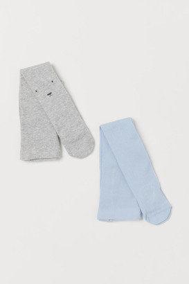 H&M 2-pack Fine-knit Tights - Gray