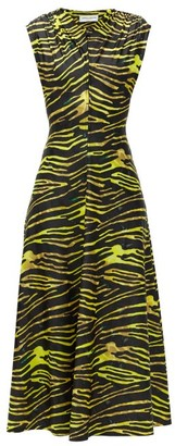 Marine Serre Tiger-print Stretch-jersey Midi Dress - Womens - Black Yellow