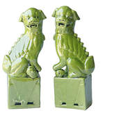 One Kings Lane Lime Green Sitting Foo Dogs - Set of 2 - Small