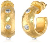 Gurhan Constellation 3 White Diamond 24k Gold Hoop Post Earrings