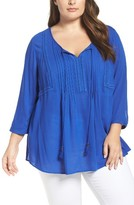 Daniel Rainn Plus Size Women's Lace Trim Tassel Tie Blouse