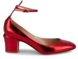 Valentino Tango Metallic Leather Ankle-Strap Pumps