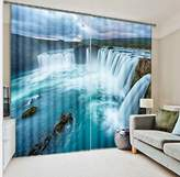 LB Teen Kids Decor Collection,2 Panels Room Darkening Blackout Curtains,Waterfall Scenery 3D Effect Print Window Treatment Curtains Living Room Bedroom Window Drapes,80W x 84L Inches