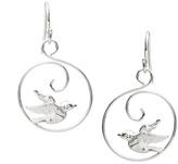 Journee Collection Sterling Silver Bird Swirl Drop Earrings