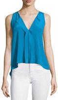 Alice + Olivia Jewel Sleeveless Silk Top, Blue