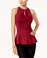 Thalia Sodi Lace-Trim Peplum Top, Created for Macy's