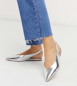 ASOS DESIGN Wide Fit Lacy slingback ballet flats in silver