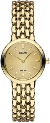 Seiko Women Dress Solar Gold-Tone Stainless Steel Bracelet Watch 23mm SUP352