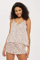 Spot print woven camisole and short set
