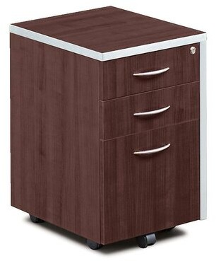 Compass 3 Drawer Mobile Vertical Filing Cabinet Forward Furniture Color: Dark Walnut