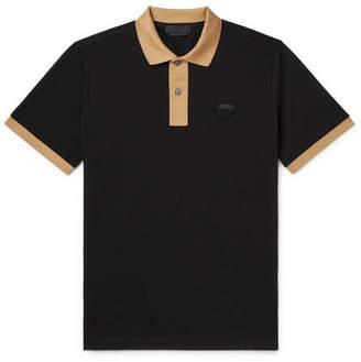 Prada Slim-Fit Logo-Appliqued Contrast-Tipped Cotton-Pique Polo Shirt