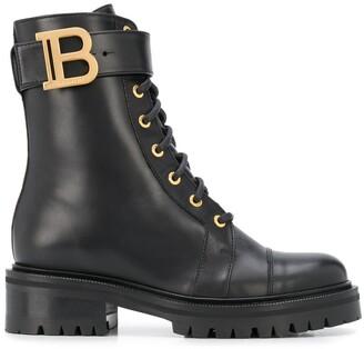 Balmain Ranger logo plaque boots
