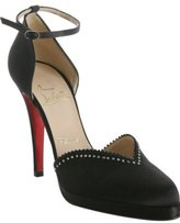 black satin 'Dominestrass' rhinestone pumps