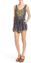 Sun & Shadow Women's Print Embroidered Romper