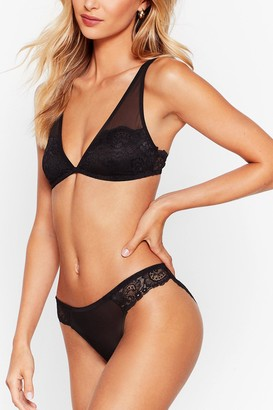 Nasty Gal Womens Let's Lace It Mesh Bralette and Knickers Set - Black - M