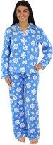 PajamaMania Women's Sleepwear Flannel Pajamas PJ Set Grey Polka Dots- Med