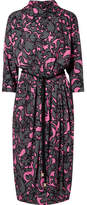Marc Jacobs Belted Printed Jersey Midi Dress - Gray