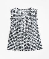 Brooks Brothers Cotton Butterfly Print Sleeveless Blouse