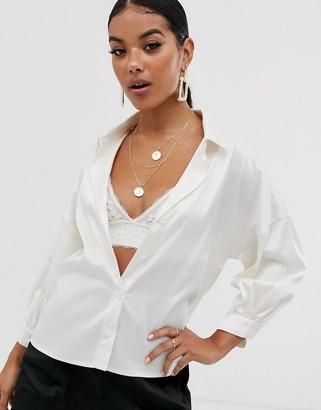 NA-KD Na Kd puff sleeve satin blouse in off-white-Beige
