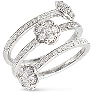 Pasquale Bruni 18K White Gold Figlia dei Fiori Diamond Multi-Row Ring