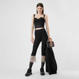 Burberry Crystal Fringe Stretch Jersey Leggings