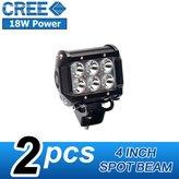DEREKRIC 2PCS 18W LED Work Light CREE 4 Inch Light Bar Offroad Spot Beam Lamp Driving Work ATV Boat 9-32V