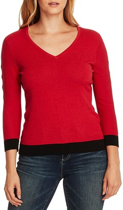Vince Camuto Cutout Sleeve Cotton Blend Sweater