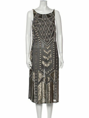 Needle & Thread Patterned Midi Length Dress Grey