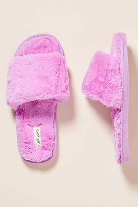Sage Faux Fur Slippers By Casa Clara in Purple Size S