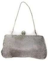 Whiting & Davis Silver Tone Jewel Clasp Mesh Glam Clutch New $158 90044426