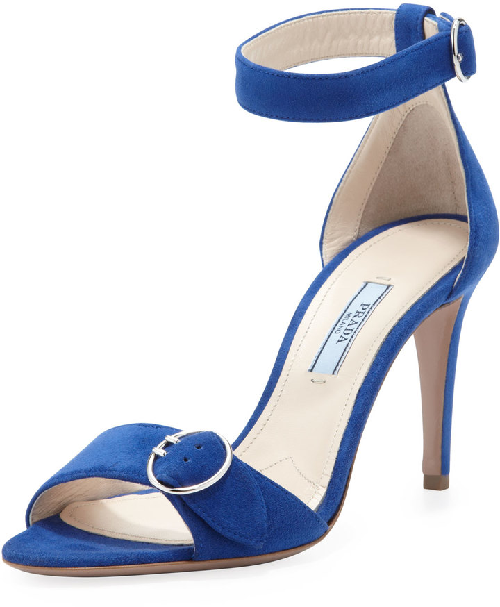 Prada Suede Ankle-Wrap Sandal With Buckled Strap, Blue