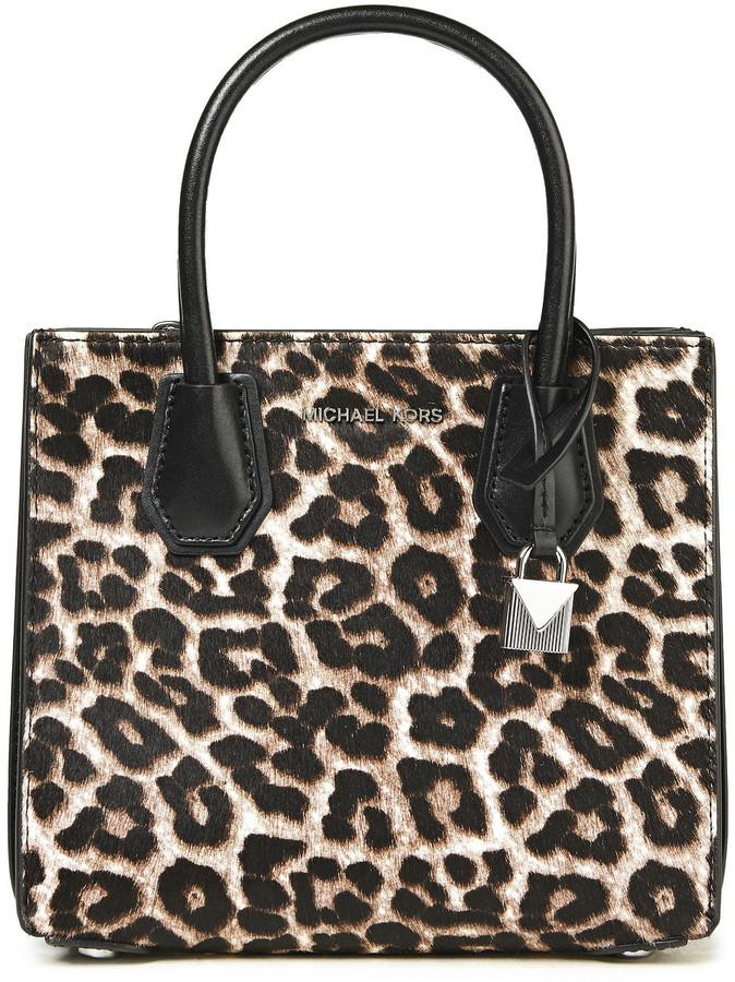 MICHAEL Michael Kors Leather-trimmed Leopard-print Calf Hair Tote
